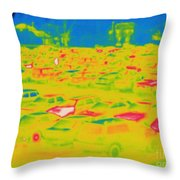 Thermogram Of Cars In A Parking Lot Throw Pillow