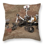 Three Generations Of Mars Rovers Throw Pillow