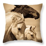 Three Horses Throw Pillow