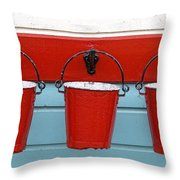 Three Red Buckets Throw Pillow