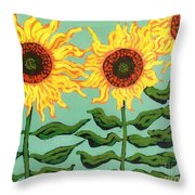 Three Sunflowers Throw Pillow by Genevieve Esson