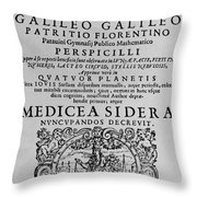 Title Page Of Galileos Book Throw Pillow
