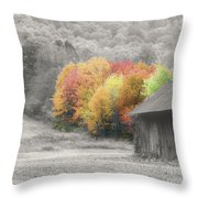 Tobacco Barn In Autumn Throw Pillow
