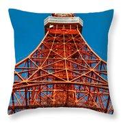 Tokyo Tower Faces Blue Sky Throw Pillow by Ulrich Schade