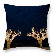 Trees With Lights Throw Pillow