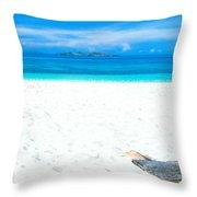 Tropical Beach Panorama Throw Pillow