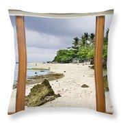 Tropical White Sand Beach Paradise Window Scenic View Throw Pillow