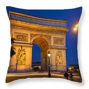 Twilight At Arc De Triomphe Throw Pillow