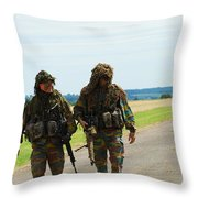 Two Snipers Of The Belgian Army Dressed Throw Pillow by Luc De Jaeger