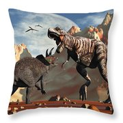 Tyrannosaurus Rex And Triceratops Meet Throw Pillow