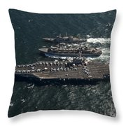 Underway Replenishment At Sea With U.s Throw Pillow