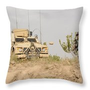 U.s. Army Sergeant Provides Security Throw Pillow