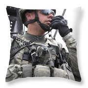 U.s. Army Soldier Communicates Throw Pillow