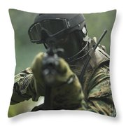 U.s. Marine During Combat Operations Throw Pillow