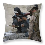 U.s. Marine Watches An Afghan Police Throw Pillow