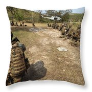U.s. Marines Provide Security Throw Pillow