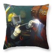 U.s. Navy Diver Welds A Repair Patch Throw Pillow