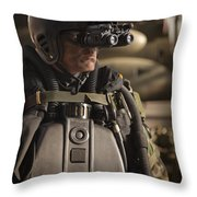 U.s. Navy Seal Equipped With Night Throw Pillow