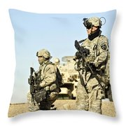 U.s. Soldiers Conduct A Combat Patrol Throw Pillow