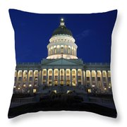 Utah Capitol Building At Twilight Throw Pillow