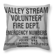 Valley Stream Fire Department In Black And White Throw Pillow