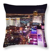 Vegas Strip At Night Throw Pillow