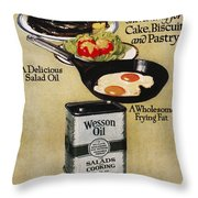 Vegetable Oil Ad, 1918 Throw Pillow