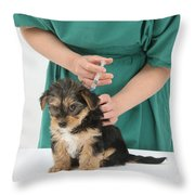 Vet Giving Pup Its Primary Vaccination Throw Pillow