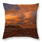 Vibrant Sunset Over The Rim Of Canyon Throw Pillow