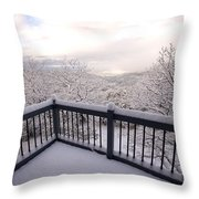 View From A Deck After A Recent Snow Throw Pillow
