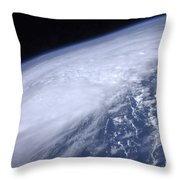 View From Space Of Hurricane Irene Throw Pillow