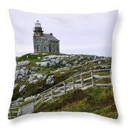 View Of Lighthouse, Rose Blanche Throw Pillow