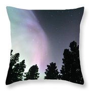 View Of Trees And Northern Lights Throw Pillow