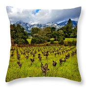 Vineyards And Mt St. Helena Throw Pillow