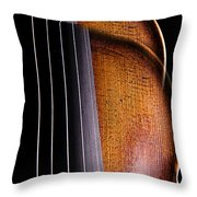 Violin Isolated On Black Throw Pillow