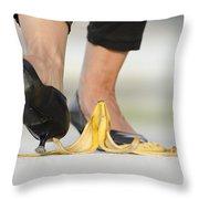 Walking On Banana Peel Throw Pillow