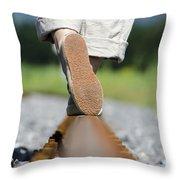 Walking On Railroad Tracks Throw Pillow