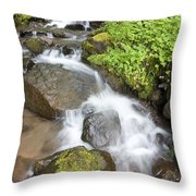 Water Cascading Over Rocks, Mount Hood Throw Pillow