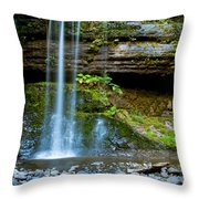 Waterfall In Deep Forest Throw Pillow
