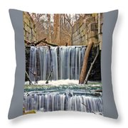 Waterfalls At Old Erie Canal Locks Throw Pillow