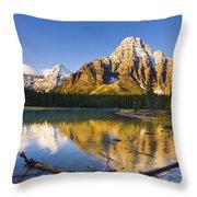 Waterfowl Lakes And Mount Chephren Throw Pillow