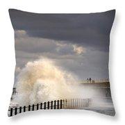 Waves Crashing, Sunderland, Tyne And Throw Pillow by John Short