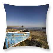 Weathered Fishing Boat On Shore, Holy Throw Pillow by John Short