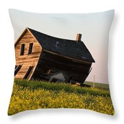 Weathered Old Farm House In Scenic Saskatchewan Throw Pillow
