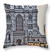 Westminster Abbey And  Victoria Tower Throw Pillow