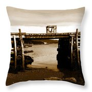 Wharf At Low Tide Throw Pillow