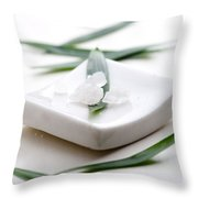 White Bath Salt Throw Pillow