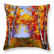 White Birch Tree Abstract Painting In Autumn Throw Pillow