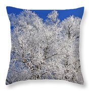 White Frost Tree  Throw Pillow