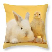 White Rabbit And Bantam Chick On Yellow Throw Pillow